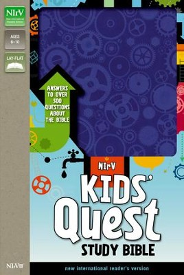 NIrV Kids' Quest Study Bible--soft leather-look, blue  -