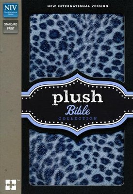 NIV Plush Bible, Thinline, Blue Sparkle Leopard  -