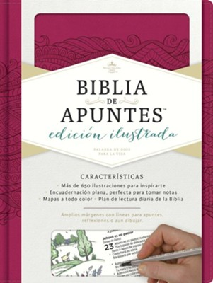 RVR 1960 Biblia de Apuntes Ed. Ilustrata, piel simil rosada (Notetaking Bible Illustrated Ed. Pink LeatherTouch)   -