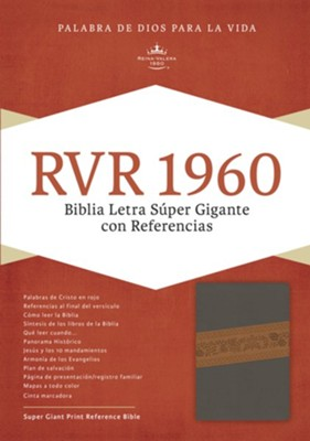 RVR 1960 Biblia Letra S&#250per Gigante, gris piel fabricada edici&#243n con &#237ndice, RVR 1960 Super Giant Print Bible, Brown Bonded Leather, Thumb-Indexed  -