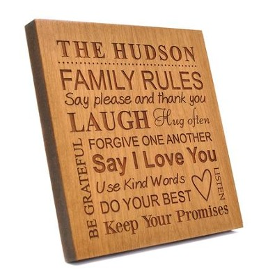 Personalized, Square Plaque, Family Rules, Cherry   -