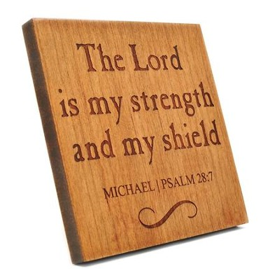 Personalized, Square Plaque, Lord Is My Shield, Cherry   -