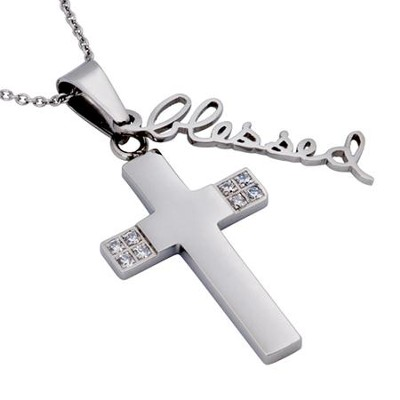 Blessed, Handwriting Cross Necklace   -