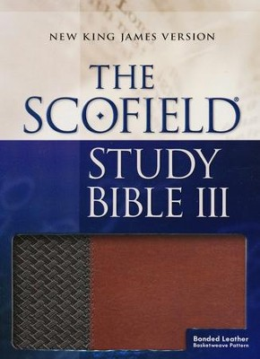 NKJV, Scofield Study Bible III, Basketweave bonded leather, brown/tan, thumb-indexed  -