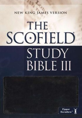 NKJV Scofield Study Bible III, Zipper Closure Duradera Imitatino leather, black  -