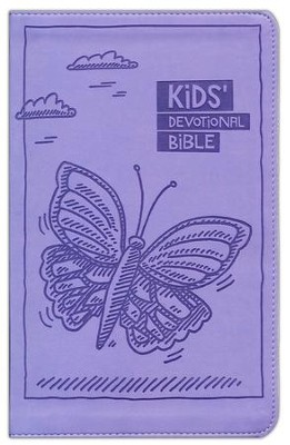 NIrV Kids Devotional Bible, Lavender Butterfly  -