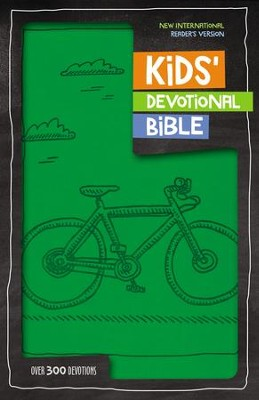 NIrV Kids Devotional Bible, Imitation Leather, Green Bicycle  -