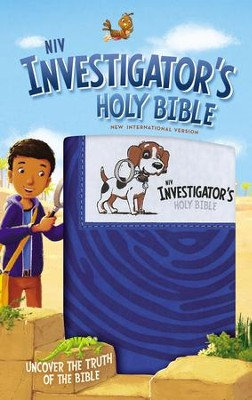 NIV Investigator's Holy Bible--soft leather-look, blue  -