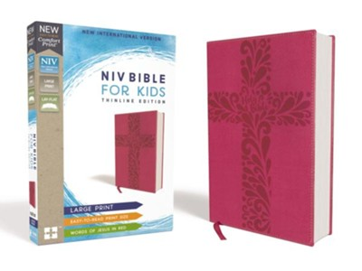 NIV Bible for Kids, Large Print, Imitation Leather, Pink  -
