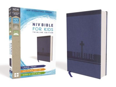 NIV Bible for Kids, Large Print, Imitation Leather, Blue  -