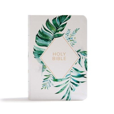 CSB On-the-Go Bible--soft leather-look, white floral textured  -
