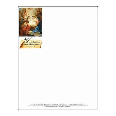 Wonderful Counselor Christmas Nativity Letterhead (Package of 50)  -
