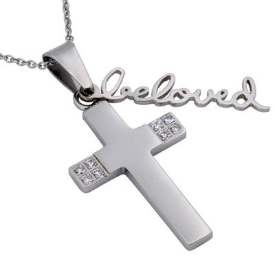 My Beloved Cubic Zirconium Handwriting Cross , 18 Chain (Song of Songs 6:3)  -