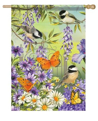 Chickadee Garden Flag, Large  -     By: Sandy Clough