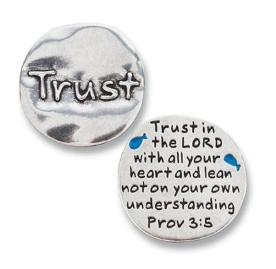 Scripture Pocket Reminder Token, Trust, Proverbs 3:5  -