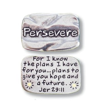 Scripture Pocket Reminder Token, Persevere, Jeremiah 29:11  -