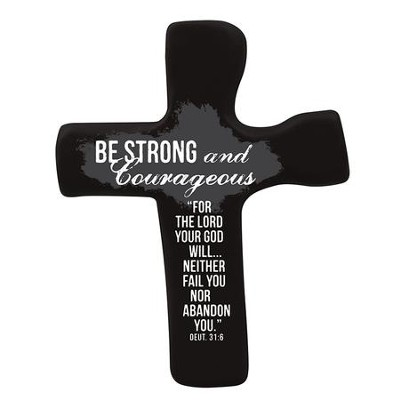 Be Strong and Courageous Palm Cross, Black  -
