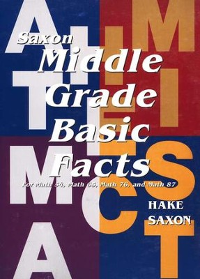 Saxon Middle Grade Basic Fact Cards    -