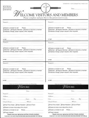Attendance Registration Pad - Large (Package of 6)  -