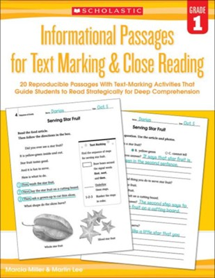 Informational Passages for Text Marking & Close Reading: Grade 1  -     By: Martin Lee, Marcia Miller