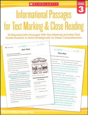 Informational Passages for Text Marking & Close Reading: Grade 3  -     By: Martin Lee, Marcia Miller