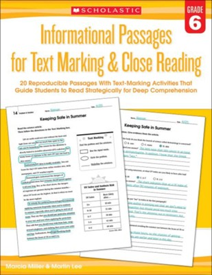 Informational Passages for Text Marking & Close Reading: Grade 6  -     By: Martin Lee, Marcia Miller