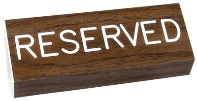 Reserved Pew Sign, Walnut  -