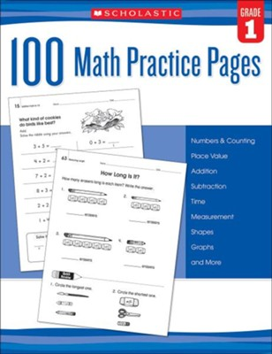 100 Math Practice Pages: Grade 1  -