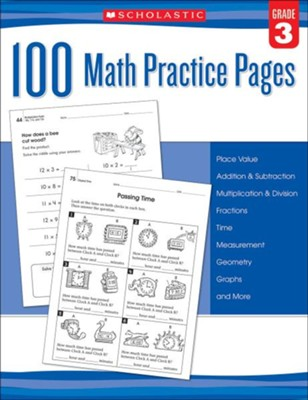 100 Math Practice Pages: Grade 3  -