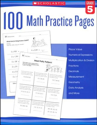 100 Math Practice Pages: Grade 5  -