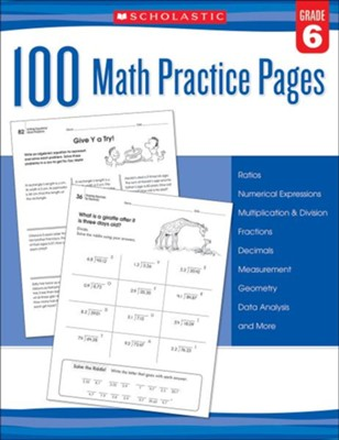 100 Math Practice Pages: Grade 6  -
