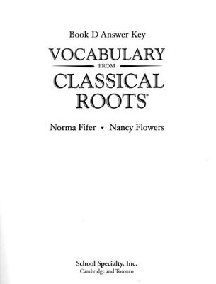 Vocabulary from Classical Roots Book D Answer Key Only   -