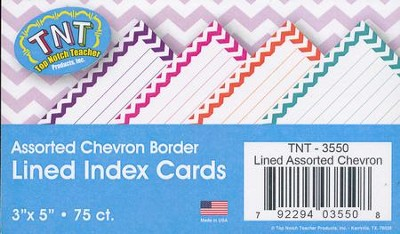 Assorted Chevron Border Lined  3 x 5 Index Cards (Pack of 75)  -