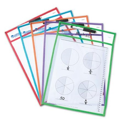 Reusable Write & Wipe Pockets, 5 pieces   -
