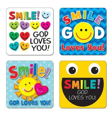 Smile, God Loves You! Sticker Pack (72 Stickers)   -