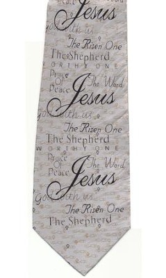Names of Jesus Silk Tie, Silver   -