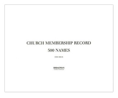 Church Membership Record--Loose-Leaf Filler Sheets   -