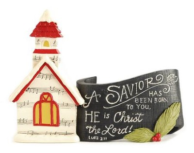 A Savior Has Been Born Church with Scroll Figurine  -