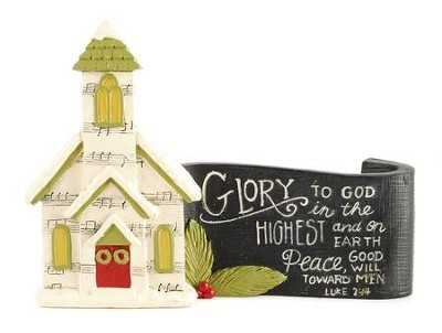 Glory to God Church with Scroll Figurine  -