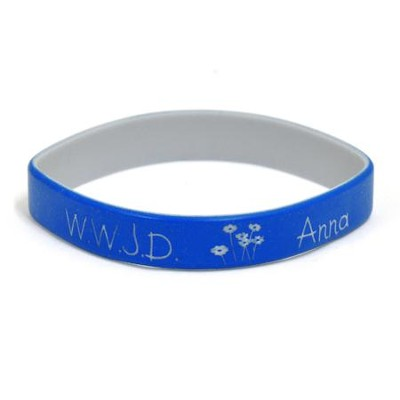 Personalized, WWJD Wristband, With Name and Flowers,  Blue  -