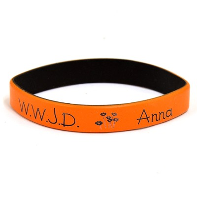 Personalized, WWJD Wristband, With Name and Flowers, Orange  -