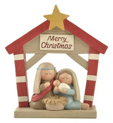 Manger with Star Figurine, Merry Christmas  -