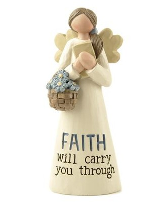 Faith Will Carry You Through Angel with Flowers and Book  -     By: Barbara Lloyd