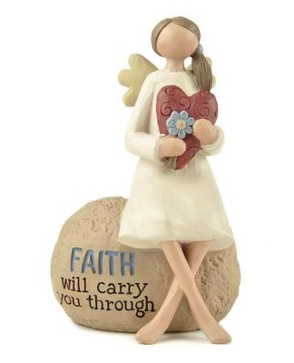 Faith Will Carry You Through Angel Figurine                        -     By: Barbara Lloyd