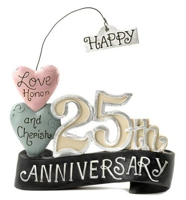 Happy 25th Anniversary Figurine with Hearts  -     By: Deb Strain