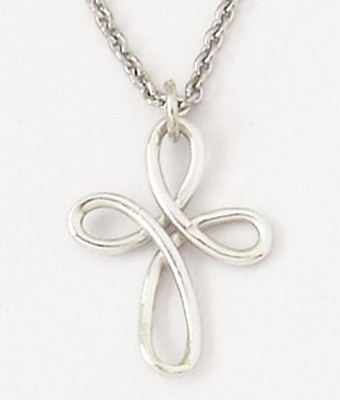 Sterling Silver Open Swirl Cross Necklace   -