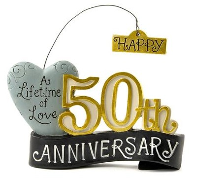 Happy 50th Anniversary Figurine with Heart  -     By: Deb Strain
