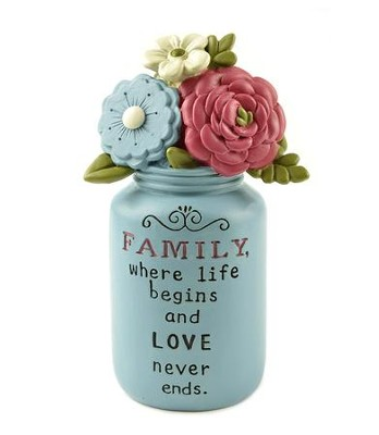Family, Where Life Begins and Love Never Ends, Blue Jar with Flowers  -     By: Deb Strain