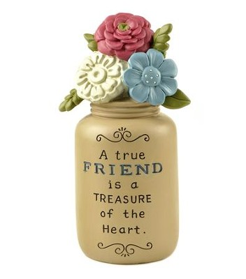 A True Friend is a Treasure of the Heart, Yellow Jar with Flowers  -     By: Deb Strain