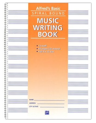 Alfred's Basic Spiral-Bound Music Writing Book, 12 Staves, 64 pages  -